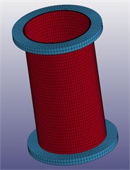 Four numerical simulation model diagrams cylindrical shell with  flange radial length of 1 cm, 3 cm, 5 cm and 7 cm