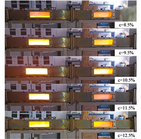 Flame propagation process (electrode ignition) to show the bright orange flame
