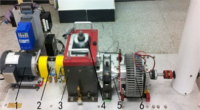 Fault simulation test rig of a multistage gear transmission system:  1 – motor, 2 – torque sensor and encoder, 3 – two stage fixed-axis gearbox,  4 – radial load of bearing, 5 – one stage planetary gearbox, 6 – brake