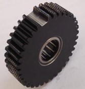 The missing tooth planetary gear: a) actual gear, and b) simulation gear model