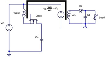 Equivalent stage circuits. Vaux – auxiliary winding voltage during non-conducting condition,  Vp – primary winding voltage during non-conducting condition,  Vo – output voltage, Vc – clamp capacitor voltage