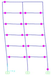 Distribution of plastic hinge rotations obtained from the SPA procedure  and NTHAs in the fringe frame for 6-Story model (Δdemand = 82 mm)