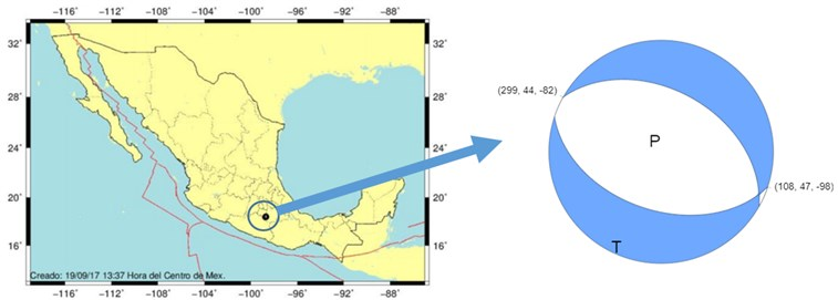 a) Epicenter location and b) focal mechanism obtained  by the USGS of the September 19, 2017, earthquake