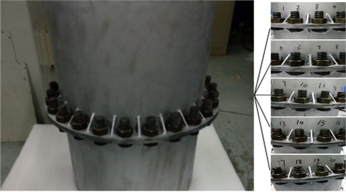 Numbering of bolts on FBSU