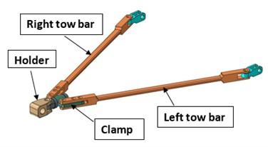 Modified tow bar assembly with box section
