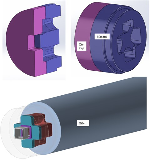 A diagram for extrusion porthole die