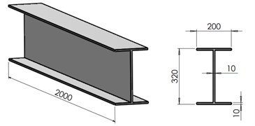 The geometry and dimensions of the I-beam