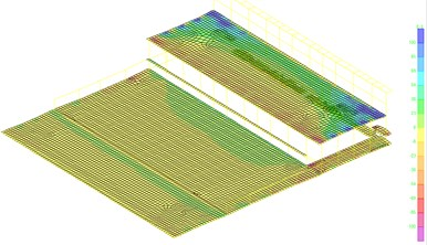 Stress distribution on floors of the main RC workshop for cooling in winter case
