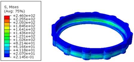 Von-Mises stress distribution on Locking nut (120 g shock applied in Z-direction)