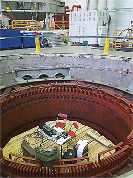 View of the generator stator in a repairing phase
