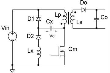 A flyback converter with conventional lossless LCD snubber