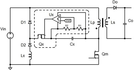 A flyback converter with the proposed regenerative LCD snubber