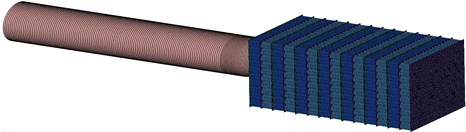 Model of projectile penetrating into honeycomb aluminum