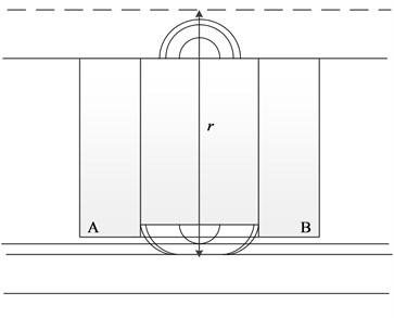 Leakage flux between iron poles