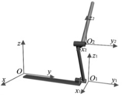 The structure of rotary double pendulum and its coordinate system
