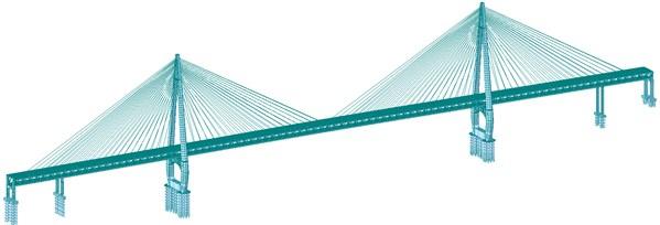The finite element model of the Baijusi Yangtze river bridge