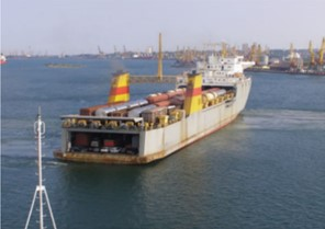"""Railroad ferries with the wagons on board a) """"Geroi Odessyi"""", b) """"Petrovsk"""""""