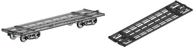 Computer models of railway wagons whose bearing elements of bodies  are made of round cross-section pipes: flat wagon
