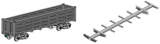 Computer models of railway wagons whose bearing elements  of bodies are made of round cross-section pipes: open-top wagon