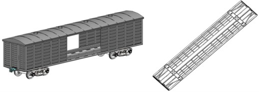Computer models of railway wagons whose bearing elements  of bodies are made of round cross-section pipes: covered wagon