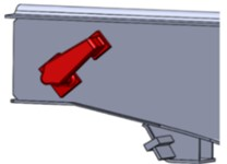 A node for wagon fastening to the deck of the railway ferry  a) general view; b) allocation on the draw bar