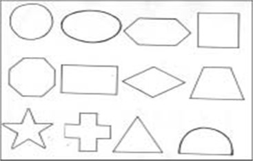 Geometric shapes used to evaluate tactile gnosies