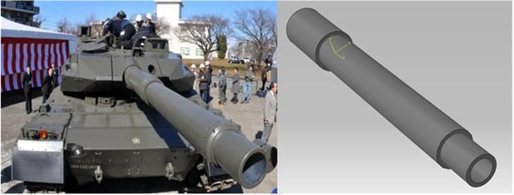 Simplified diagram of gun barrel