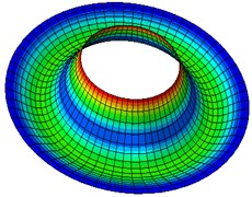 Natural modes of a clamped annular plate with a free inner boundary, r1/r2= 0.4