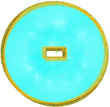 Circular plate with rectangular cutout  and inner and outer edges fixed