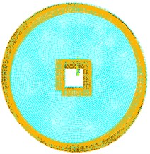 Circular plate with square cutout  and inner and outer edges fixed