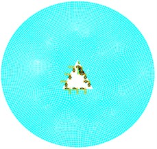 Circular plate with triangular cutout  and inner edge fixed