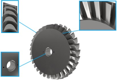 An exemplary 3D model of the turbine disc; the following elements are enlarged:  pinhole (in the bottom left corner), transition radius (in the upper right corner),  blades with complex shapes (in the upper left corner)