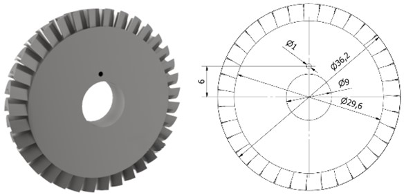 Disc whose outer diameter is 36.2 mm
