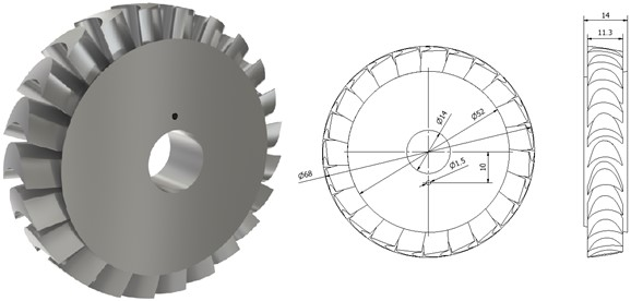 3D model of the turbine disc and its dimensions