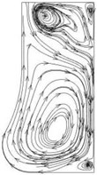Flow line distribution in the radial section of the pump cavity at the 0.8Qd operating point