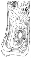 Flow line distribution in the radial section of the pump cavity at the 1.0Qd operating point