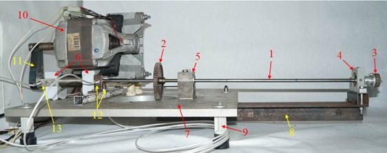 Experimental arrangement: 1 – horizontal steel shaft (diameter/length/mass of console = 8mm/645mm/0.255kg), 2 – disk (0.270kg), 3 – indicator (0.065kg), 4 – stator imitator as the solid support with small radial clearance (r/δ=2.65), 5 – safe support with large radial clearance,  6 – assembled ball bearings, 7 – frame plate, 8 – frame bracket, 9 – frame strut, 10 – electric motor,  11 – toothed belt drive, 12 – sensor for traverse displacements of shaft, 13 – sensor for rotary velocity of shaft