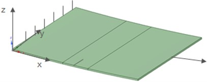 Geometry of curved plate with crack FE model of curved plate with crack (b)