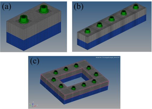 Mesh of three different the finite element models:  a) two bolts work-piece, b) five bolts work-piece, and c) frame type work-piece