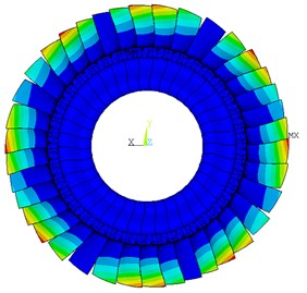Deformation distribution of tuned bladed disk