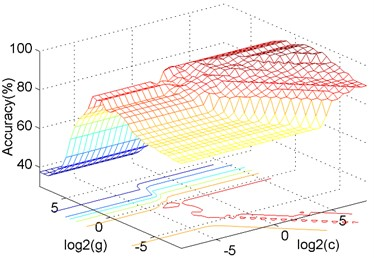 The influence of c, g parameters on accuracy