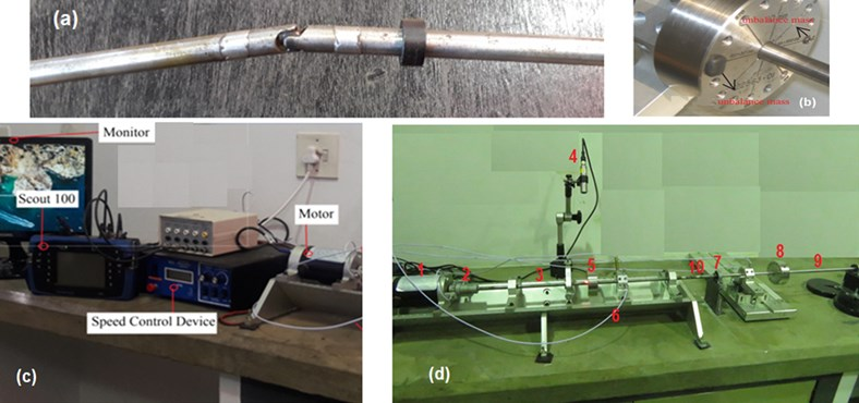 Experimental setup is composed of a) a cardan shaft, b) unbalanced mass location set at 0°,  c) data acquisition control, d) modified rotor kit- 4 components (1): motor, (2): flexible coupling,  (3): input shaft 1 (4): tachometer (5): disc1, (6): probes, (7): self- aligning bearing,  (8): disc 2, (9): output shaft 2, (10): hooke's