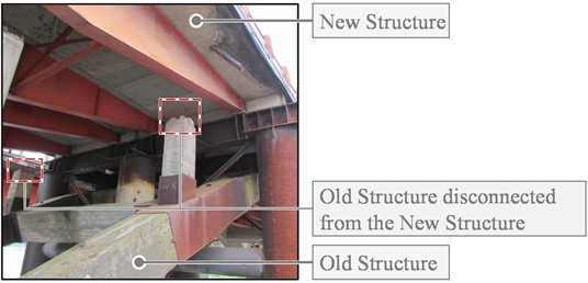 Disconnecting the original substructure (left) and disconnection  between the New Structure and the original elevation (right)