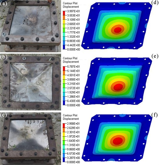 a)-c) are experimental photos after explosion, and d)-f) are simulation results of plates