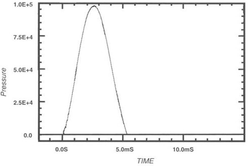 Typical pressure pulse signal generated by model 913B02