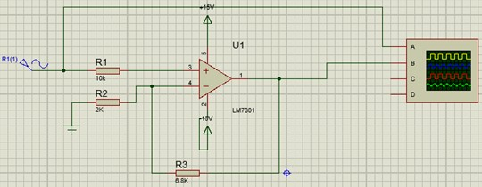 Principle diagram of amplifier circuit simulation