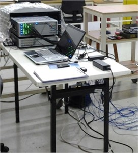 The analyser used in measurements.  The photographs are taken at the Automotive Laboratory of Bogazici University