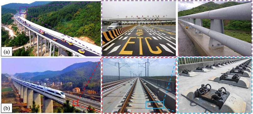 Different bridge types: a) highway bridges; b) HSR bridges