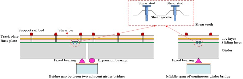 Schematic diagram of the track structure at the middle span and beam ends