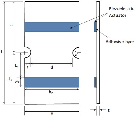 Plate with opposite semicircular notches  and integrated piezoelectric patch